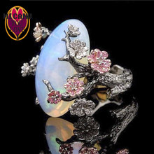 Anel opala moonstone luxo flor lua anjo vintage feminino conjuntos de noivado casamento venda jóias accesorios brilho no escuro