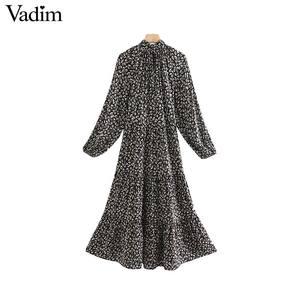 Image 2 - Vadim women elegant floral print midi dress long sleeve female casual straight style loose dresses stylish vestidos mujer QC955