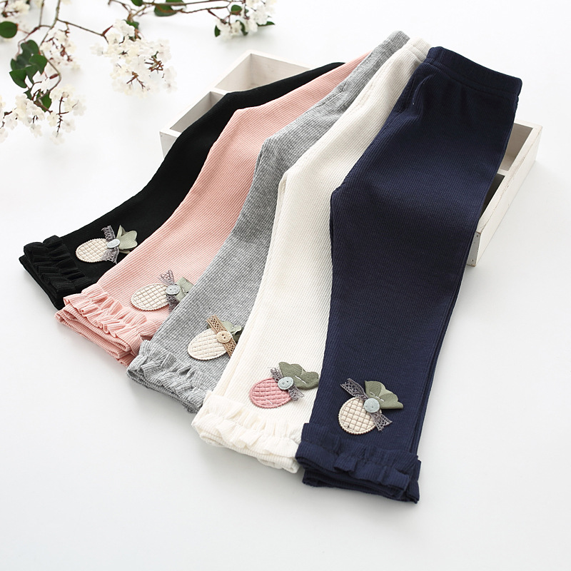 Baby Girl Pants Spring Autumn Stretch Knitting Newborn Leggings Casual Pineapple Embroidery Infant Toddler Trousers For 0-3Years