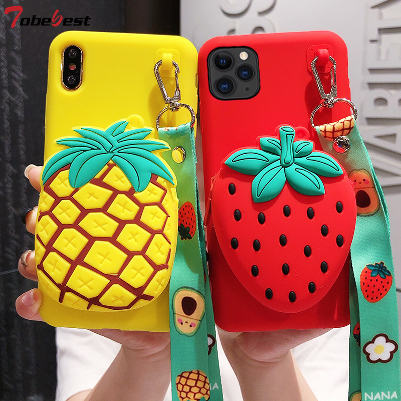 3D Strawberry Pineapple Fruit Wallet Lanyard Silicone TPU Case For Iphone 12 11 Pro XS Max XR XS X 7 8 6S Plus Cute Phone Cover