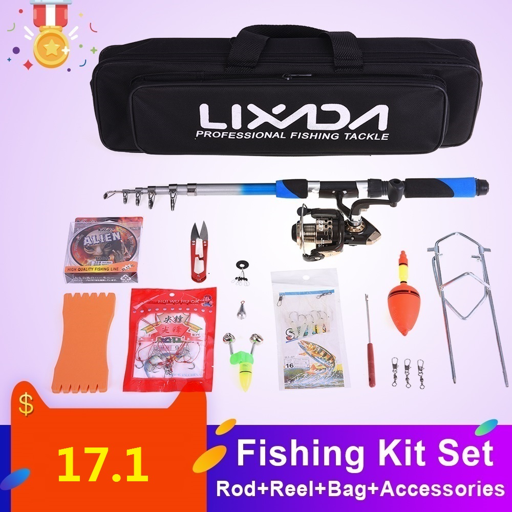 Lixada Pole-Set Fishing-Rod-Combo Telescopic Spinning Lures-Hooks Jig-Head title=
