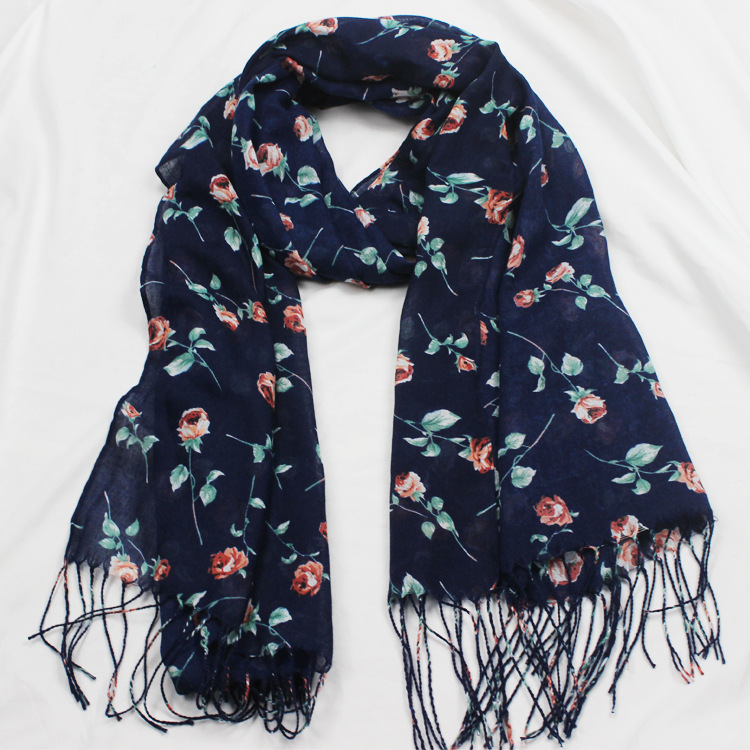 Flowers Printed Scarf Ladies Vintage National Style 170*60CM Temperament Cotton Linen Tassels Breathable Skin-friendly Shawls