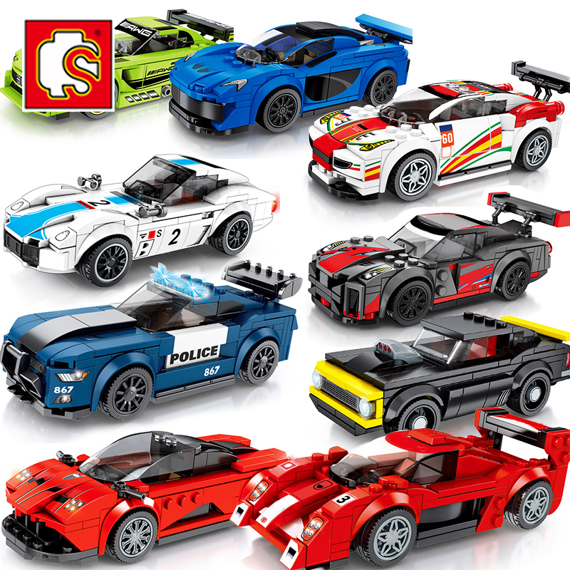 Speed Champion Sets Compatible Technic City Racing Car Racer Building Blocks Brick Kits Educational Toys For Children