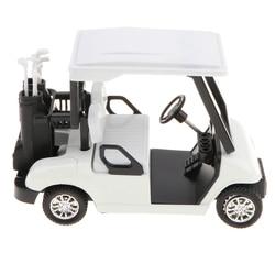 Nieuwe 1:20 Schaal Mini Lichtmetalen Pull Back Golfkar + Clubs Diecast Model Voertuig Playset Speelgoed Bureau Decor Kits-Wit