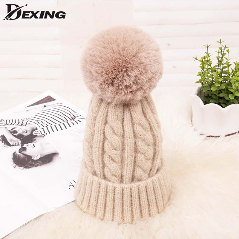 New Winter Ski Pink Ball   Beanie   Hat For Women Fluffy Double Faux Fur Pom Pom wool knitted   Skullies     Beanie   With Pompom warm hat