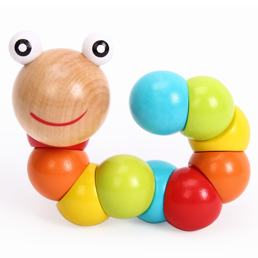 New DIY Baby Kids Polished Twist Caterpillars Colorful Wooden Wood Toy Developmental Infant Educational WJ342