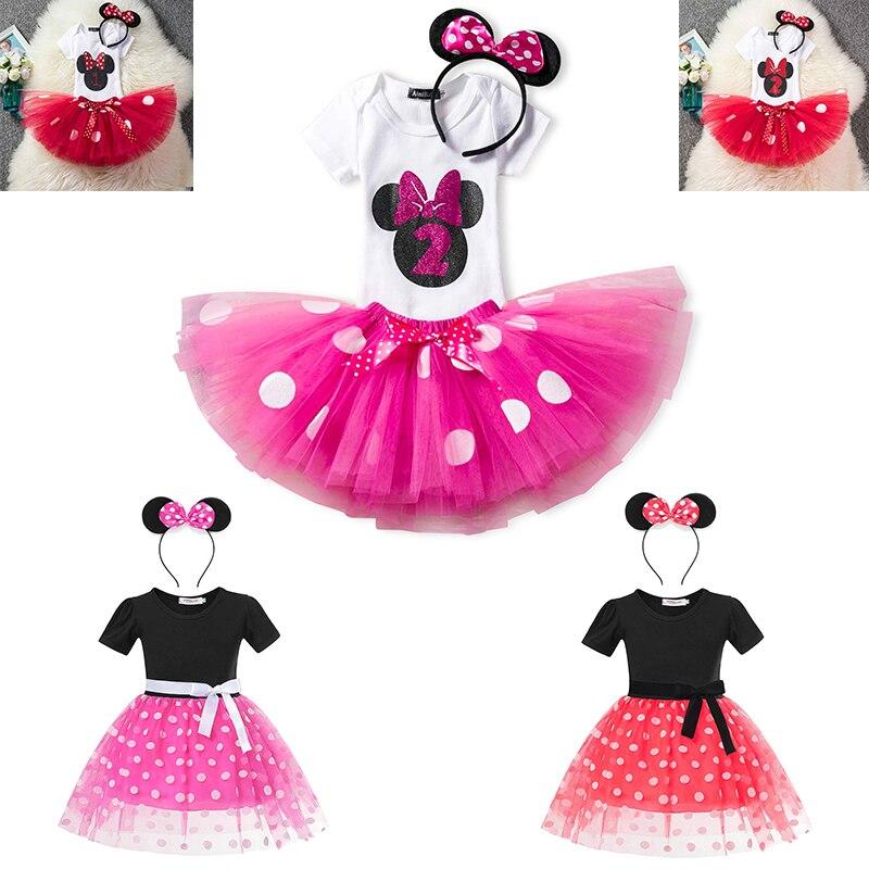 Minnie Dress Up Kids Costume Dots Tutu Mickey Fancy 1-6 Year Birthday Party Dress Girls Baby Vestido For Children Infant Wear