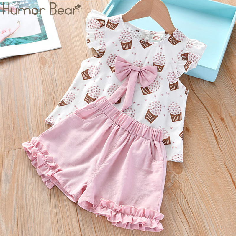 Humor Bear Girls Clothing Set 2020 Korean Summer New Ice Cream Bow Top T-shirt+Pants Kids Suit Toddler Baby Children's Clothes 1