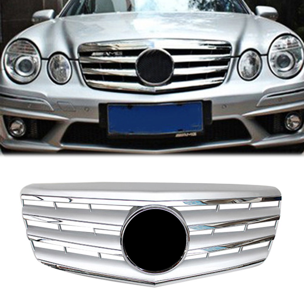 AMG Style Car Front Grille Upper <font><b>Grill</b></font> For 2007 2008 2009 <font><b>Mercedes</b></font> Benz E-Class <font><b>W211</b></font> E320 E350 E500 ABS Plastic Chrome Silver image
