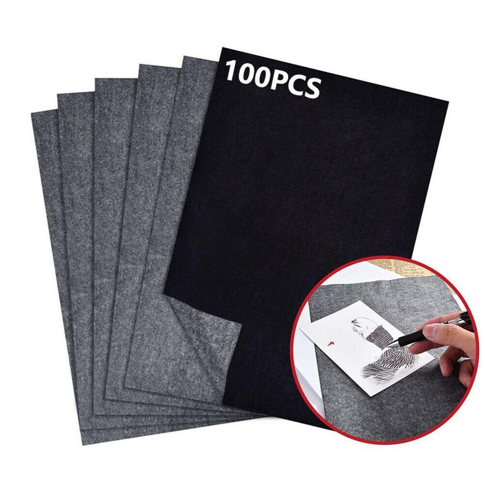 100Pcs/Set Black A4 Copy Carbon Paper Painting Tracing Paper Graphite Painting Reusable Painting Accessories Legible Tracing
