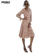 Pgsd осеннее модное повседневное женское платье с оборками и