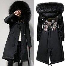 Новинка, женские XL-5XL парки большого размера, зимние теплые длинные куртки с капюшоном на молнии, верхняя одежда из флока