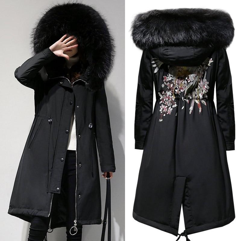2019 New Big Size Women XL-5XL   Parkas   Coats Winter Warm Hooded Zipper Long Jackets Flocking Outerwear Coats