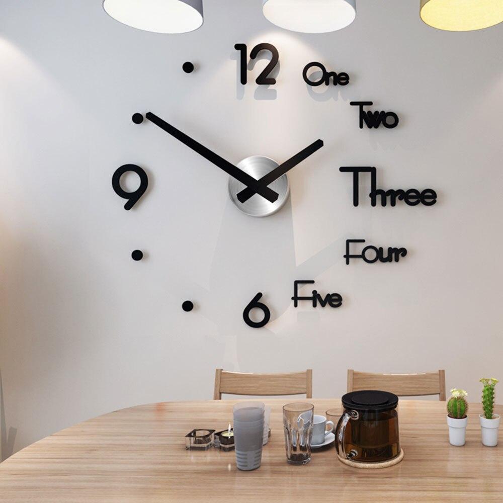 Reloj de diseño moderno, reloj de pared grande, relojes 3d Diy, pegatinas de mecanismo de acrílico para espejo, decoración para el hogar, sala de estar, aguja de cuarzo|Relojes de pared|   - AliExpress
