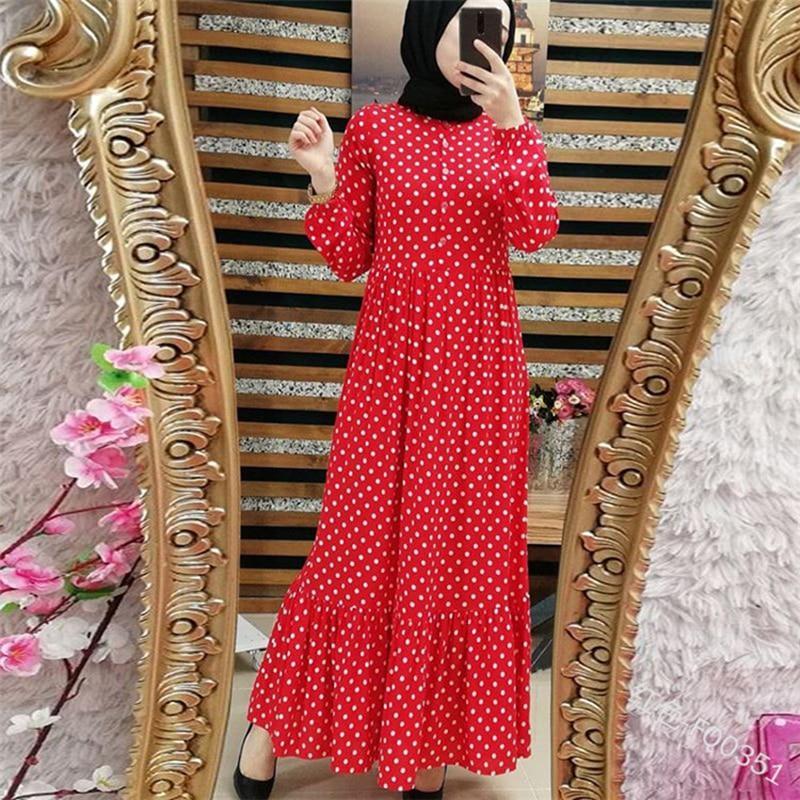 Plus Size Polka Dot Kaftan Abaya Dubai Hijab Muslim Dress Caftan Marocain Turkish Dresses Jilbab Abayas