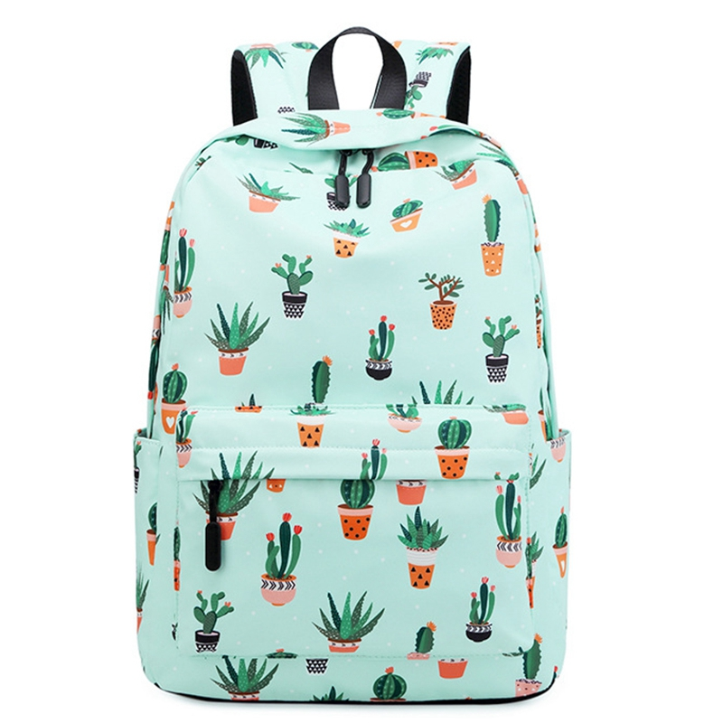 Waterproof Fairy Ball Plant Printing Backpack Women Cactus Bookbag Cute School Bag For Teenage Girls Kawaii Pink Green Knapsac