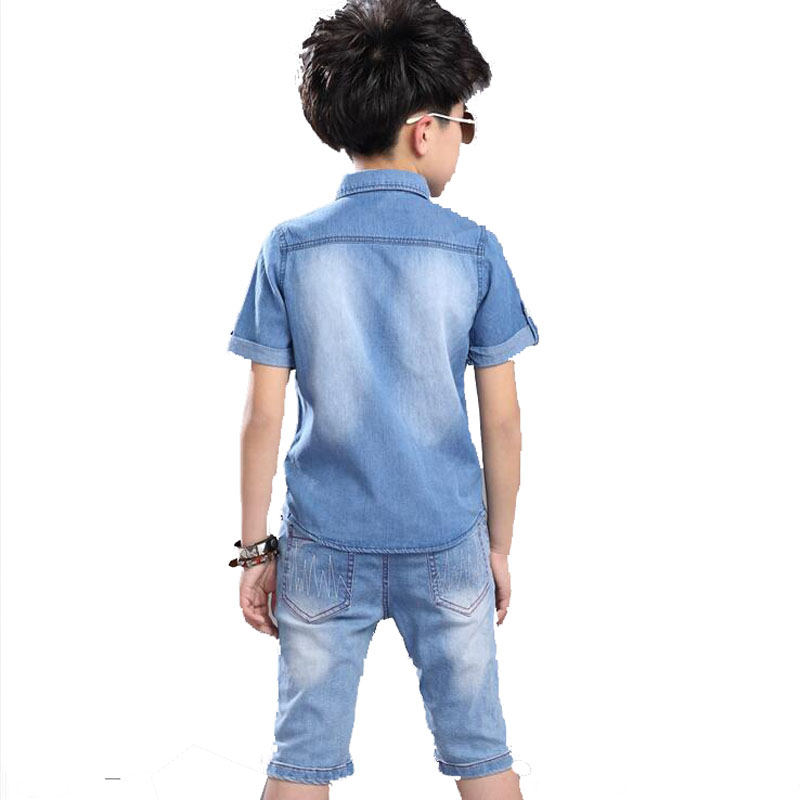Children Boys Clothing Sets Summer Denim Shorts Pants Sports Tracksuit For Kids Short Sleeve T Shirt Jeans Clothes Sets New 2020 6