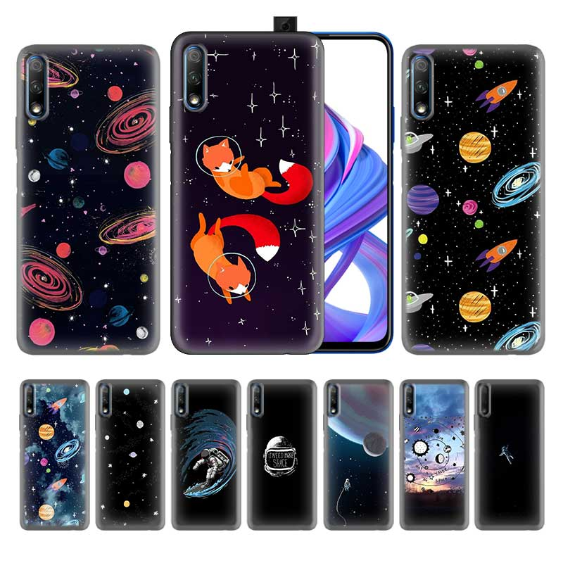 Black Silicone Case for Huawei P Smart Plus Z Honor 8X 9X 10 20 Lite Pro 2019 Coque Fundas Covers Shells Falls space fox dark image