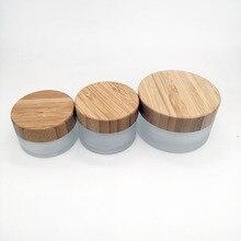 Frasco vacío de crema de vidrio esmerilado, tapa de bambú ecológica, para el cuidado de la piel, 30g, 50g, 100g