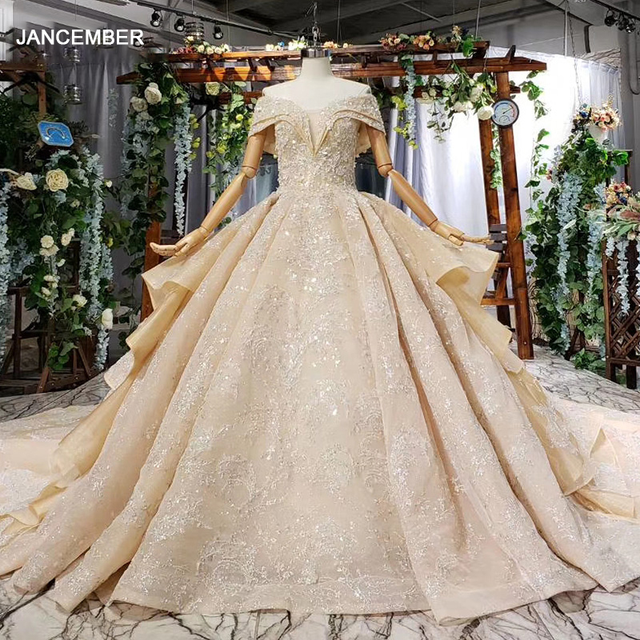 HTL660 short sleeved ball gown wedding dresses cathedral train sequined  off the shoulder wedding dress vestido de casamento