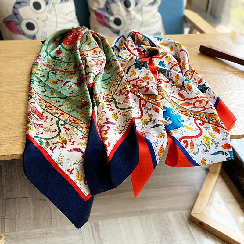 16mm fabuleux Floral 100% soie écharpe châle enveloppes pour les femmes charmant foulards Foulard doux lisse 105*105cm