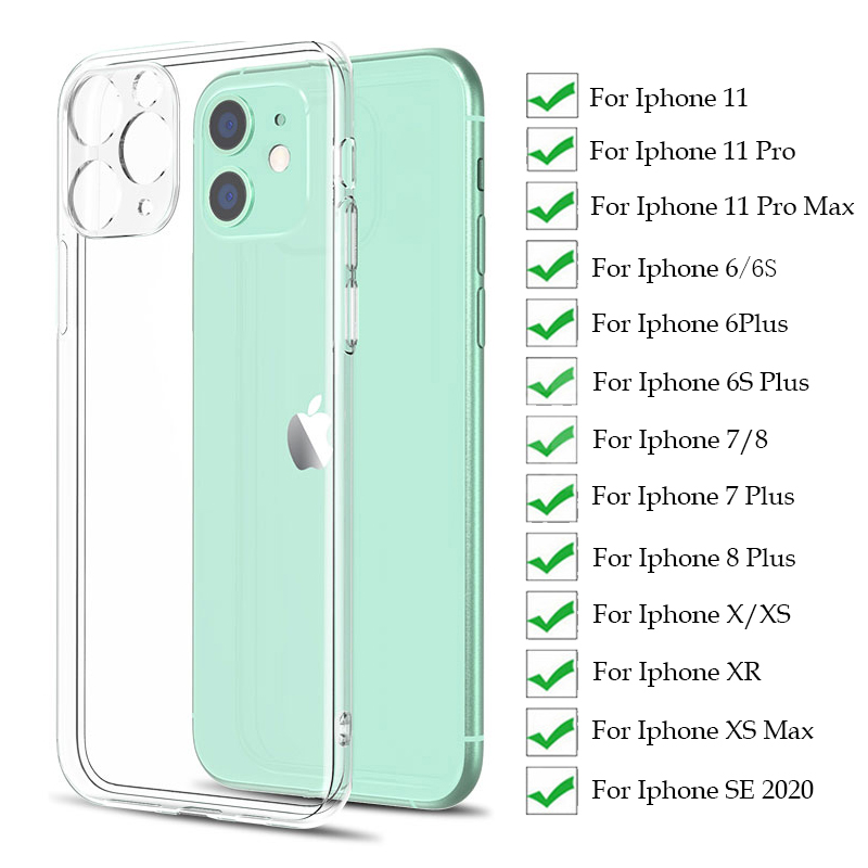Lens Protection Silicone Case For iPhone 11 X XR XS Max 8 7 6 6S Plus SE 2020 Soft Cover For iphone 11 Pro Max Transparent Case