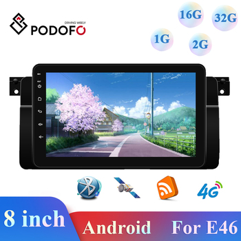 Podofo 1+16G/2+16G/2+32G Android Radio Car Stereo Autoradio Car Multimedia Video Player GPS/WiFi/FM Bluetooth For BMW E46 image