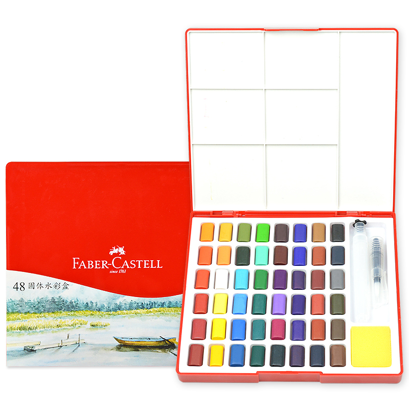 FABER CASTELL Solid WaterColor Pigment 24/36/48 Color Transparent Beginner Portable Watercolor Hand-painted Set Art Supplies