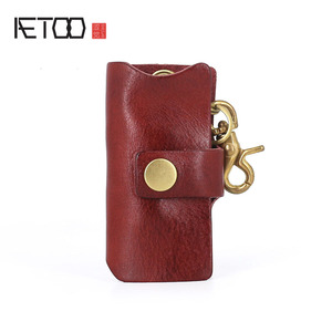 Кожаная сумка для ключей AETOO с эффектом помытого водного растения, мужской ретро брелок из воловьей кожи, брелок для ключей