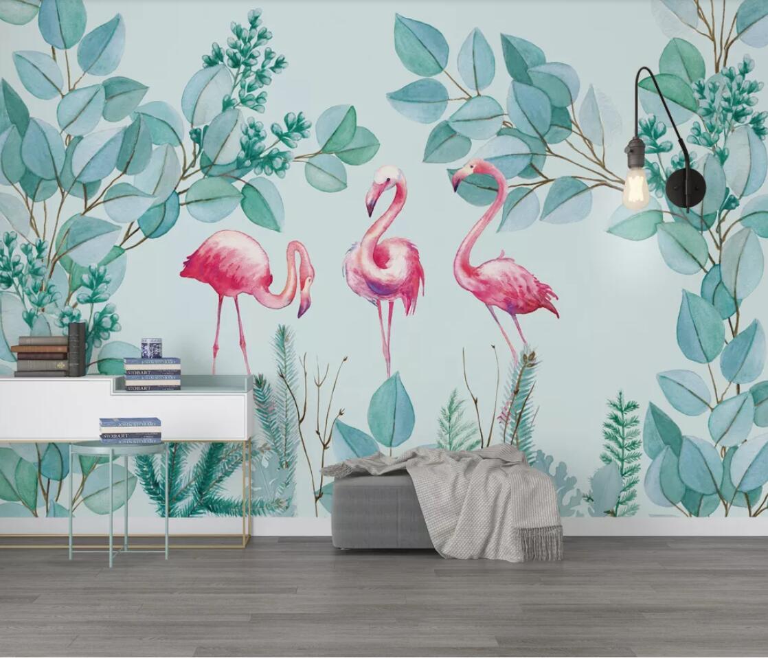 Tropical Flamingo Wallpaper Nordic Rain Forest Wall Mural Bedroom