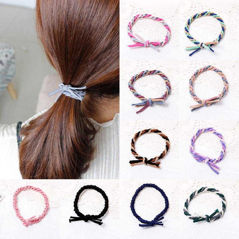 Модная разноцветная эластичная резинка для волос ручной работы, повязка на голову, аксессуары для волос с конским хвостом, Женская резинка для волос