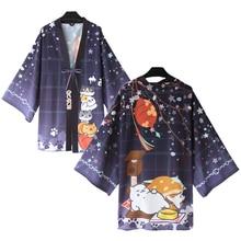 Anime Neko Atsume Cute Cat Printing Cloak Haori Cosplay Costume Japanese Men Women Casual Kimono Yukata Halloween Party Dress neko atsume cat new cosplay daily hoodie girl lovely sweater winter cloak hoodie warm coat costume