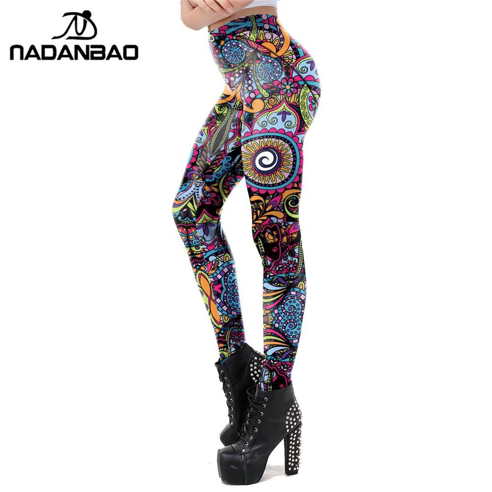 NADANBAO New Classic Aztec Round Ombre Flower Leggings For Women Mandala Printed Pants Fitness Workout Leggins Elassic Legins