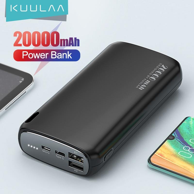 KUULAA Power Bank 20000mAh Portable Charging Poverbank Mobile Phone External Battery Charger Powerbank 20000 mAh for Xiaomi Mi 1