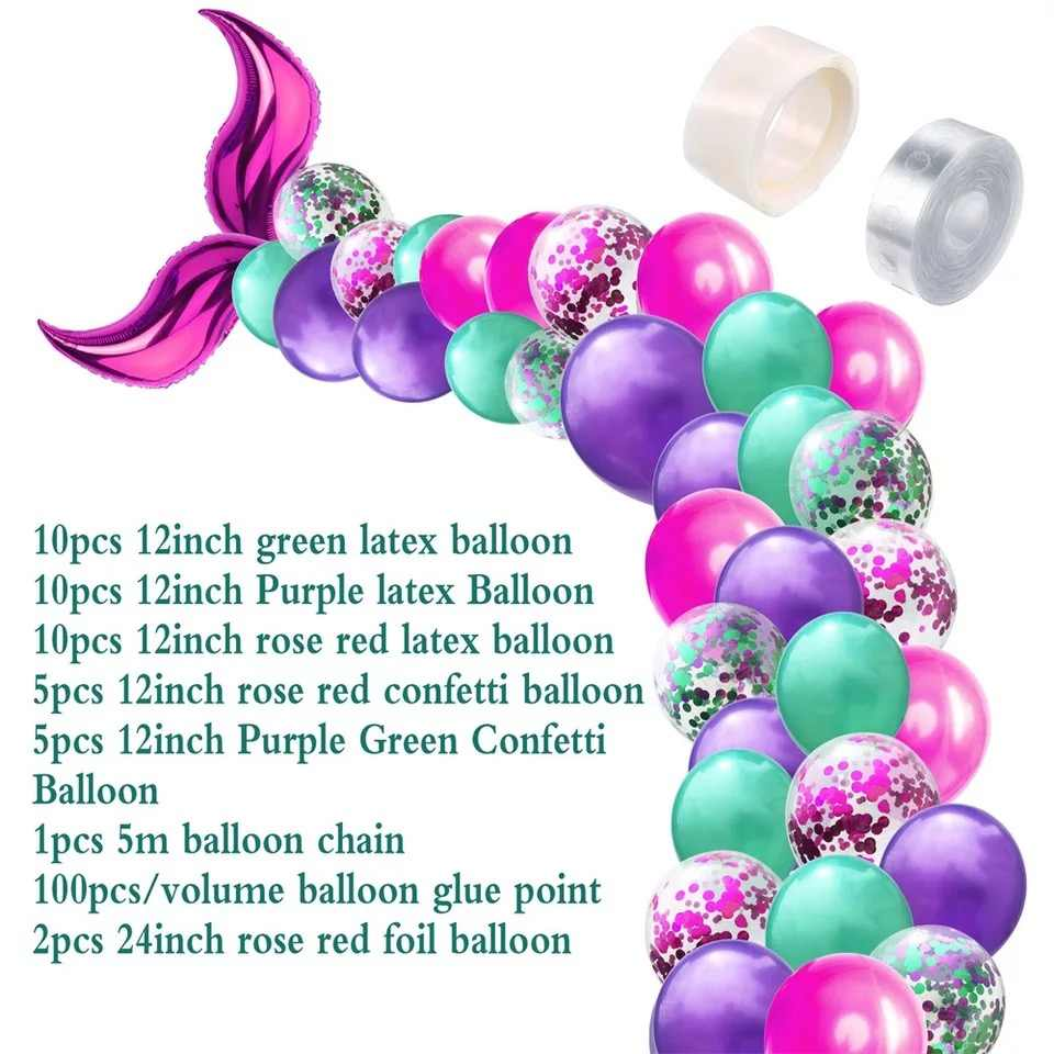 42Pcs Mermaid Balloon Arch Set Mermaid Tail Balloon Little Mermaid Party Decorations Supplies Wedding Girl Birthday Party Decor