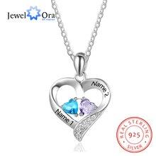 Bijouora collier personnalisé en argent Sterling 925 avec nom et pendentif en cœur gravé, collier pour mères, avec 2 pierres de naissance, cadeau pour mères