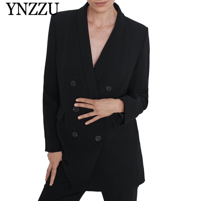 YNZZU 2019 Autumn Winter Black Women Blazer Tuxedo Collar Long Sleeve Female Suit Double Breasted Loose Long Ladies Jacket YO900
