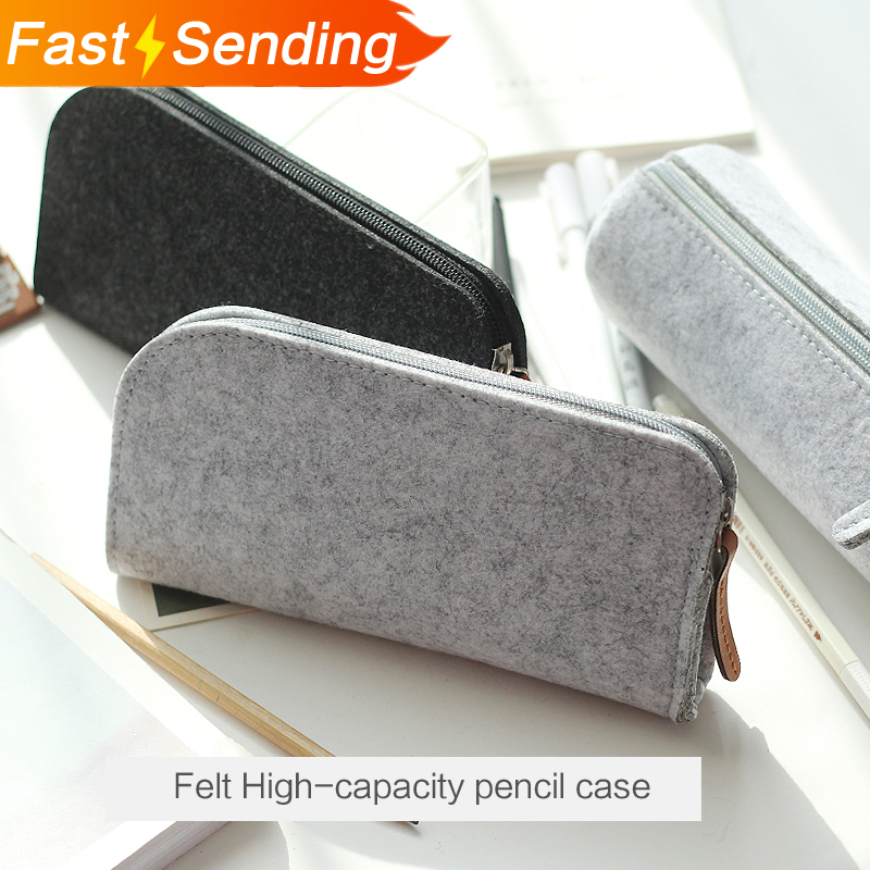 JIANWU Minimalist felt pencil bag fabric pencil case pencil box School Supplies Office Supplies