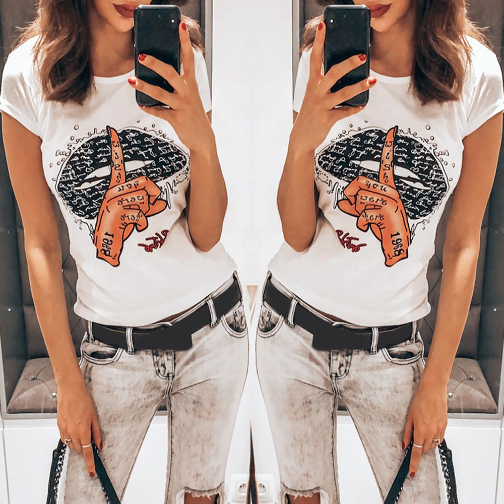 Lips Letter Printed Women T-Shrit Short Sleeve Summer Round Neck Ladies Tee Shirt Tops Fashion Casual Female Tshirt Tops D30
