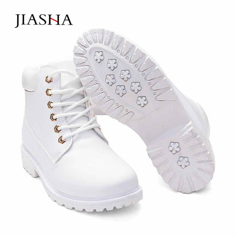 Kar çizmeler kadın ayakkabıları 2020 dantel-up kış çizmeler deri kadın yarım çizmeler sıcak kürk peluş astarı beyaz ayakkabı kadın bayanlar ayakkabı