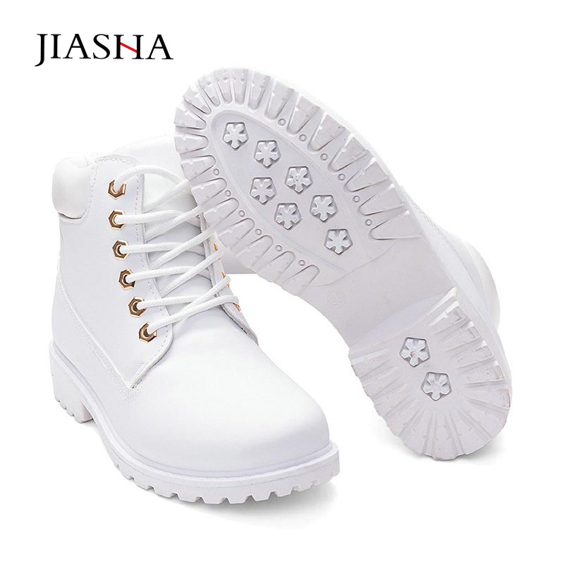 Snow boots women shoes 2020 lace up winter boots leather women ankle boots warm fur plush Insole white shoes woman ladies shoes Ankle Boots    - AliExpress
