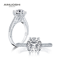AINUOSHI Trendy 925 Sterling Silver 2.65 CT Round Cut Halo Ring Engagement Simulated Diamond Wedding Silver Rings Jewelry Gifts