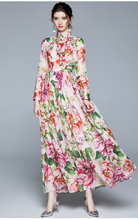 Runway Holiday Out Maxi Dresses Fall Women Long Sleeve Floral Print Sashes Pleated Boho Big Swing Chiffon Long Dresses + Scarf