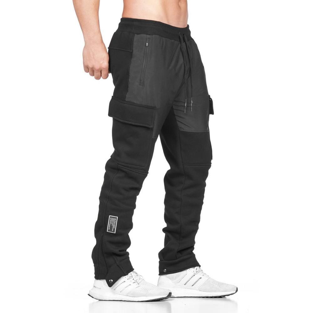 Men's Multi-pocket Gray Sports Leg Pants Autumn And Winter New Jogger Large Size Men's Training Slimming Cotton SportswearM-2XL