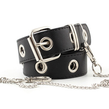 New PU Leather Waist Belt Punk Hip-hop Fashion Pin Buckle Black Adjustable Waistband With Chain For Ladies Girls Women Jeans Z15 цена