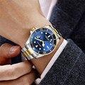 Роскошные золотые мужские Rolexable кварцевые наручные часы Лидирующий бренд модные синие мужские из нержавеющей стали водонепроницаемые спор...