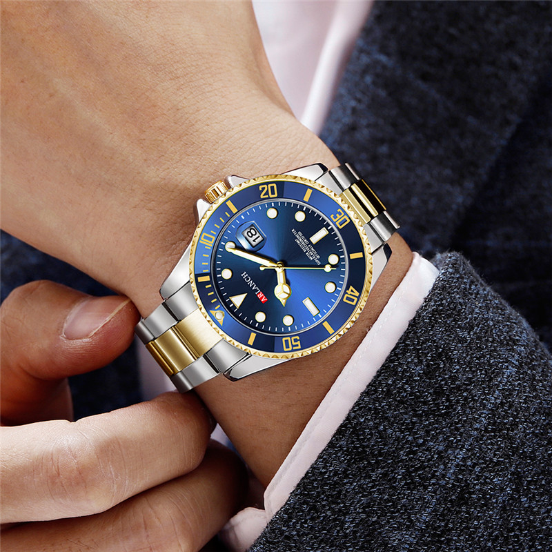Luxury Gold Mens Rolexable Quartz Wrist Watches Top Brand Fashion Blue Male Stainless Steel Waterproof Sports Wristwatch For Man