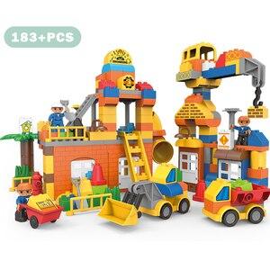 Image 2 - 183pcs גדול גודל עיר בניית DIY חופר כלי רכב Bulldoze אבני בניין סט Duploed לבני צעצועי ילדי תינוק ילדים