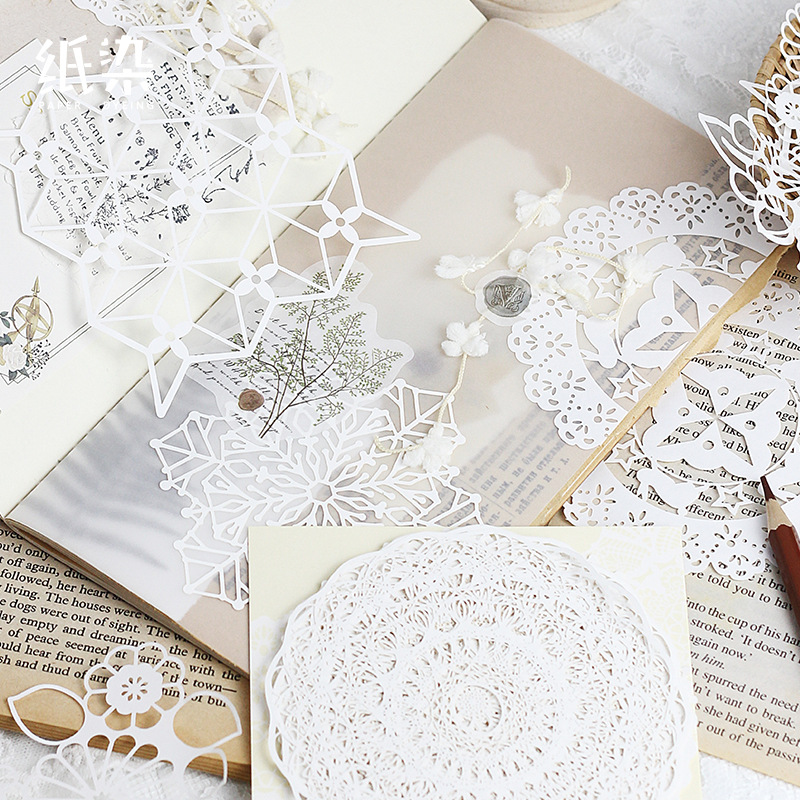 1pack Retro Background Material Paper Vintage Hollow Lace Paper DIY Scrapbooking Projects Label Diary Album Bullet Journal