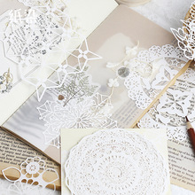 1pack Retro Background Material Paper Vintage Hollow Lace DIY Scrapbooking Projects Label Diary Album Bullet Journal